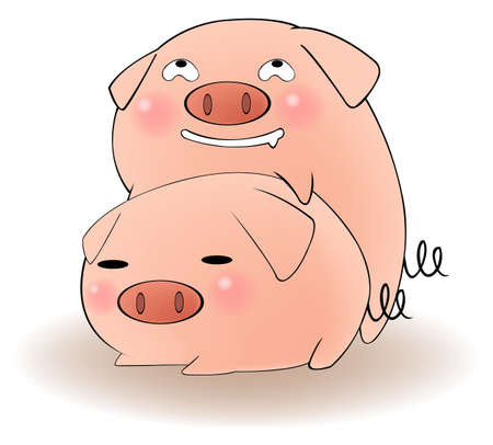 romantic sex: Two cartoon pigs having sex with cunning expression, create by vector