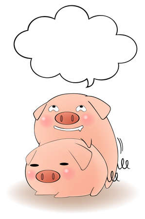 Two cartoon pigs having sex with blank speech bubble, create by vector Stock Vector - 20481553