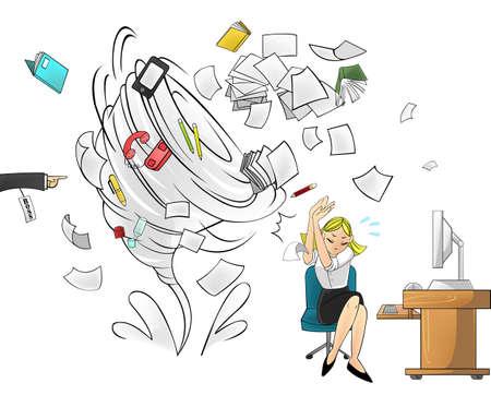 oficina desordenada: Hurac�n de la carga de trabajo en la oficina - versi�n mujer con el fin jefe