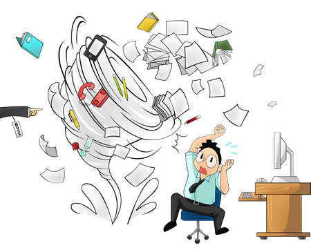 tired businessman: Hurricane of workload in the office - man version with boss order Illustration