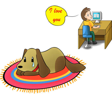 Love your little puppy instead of showing love via computer screen Vector