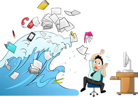 Tidal wave of workload in the office - man version Imagens - 20681932