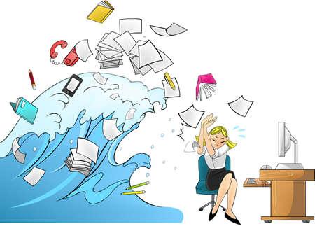 oficina desordenada: Ola de carga de trabajo en la oficina - mujer version Vectores