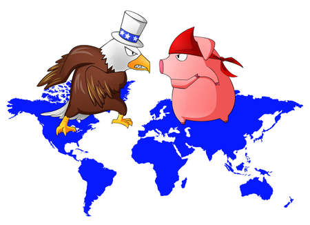 boast: Giant eagle and red pig is fighting above the continent, create by vector Illustration