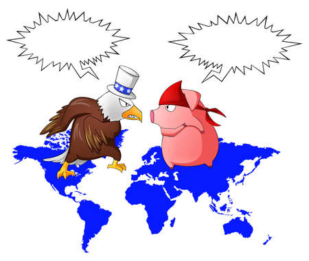 missiles: Giant eagle and red pig is fighting above the continent with speech bubble, create by vector