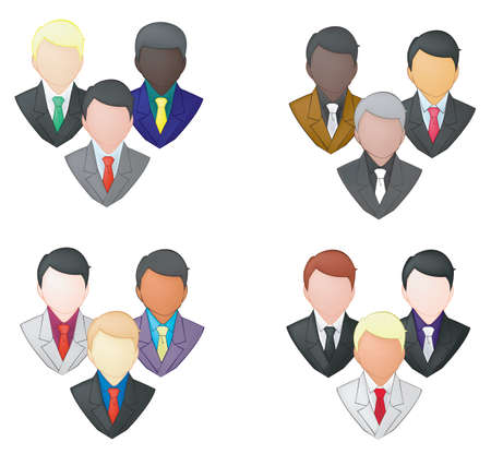 Set of businessman icon in group  pencil line Stock Vector - 20771431