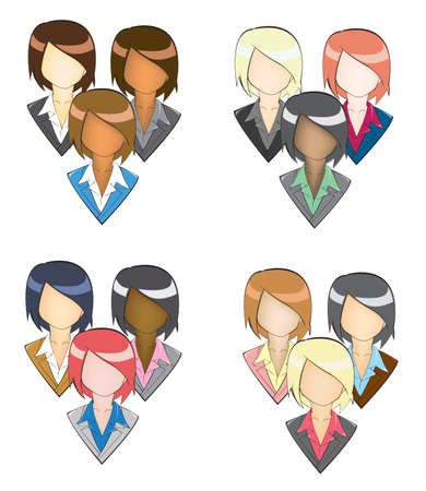 Set of businesswoman icon in group and in PENCIL LINE style Stock Vector - 20771333