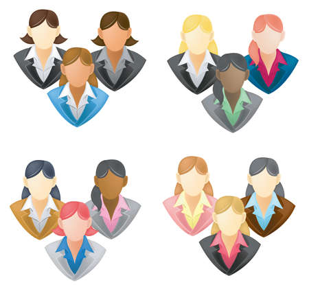 Set of businesswoman icon in network group Vector