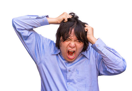 psycho: An Asian office guy is stressing to his limit in white background Stock Photo