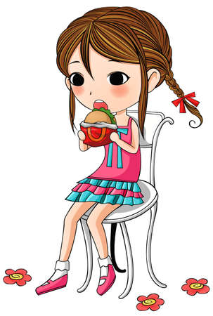 A cute stylish cartoon girl is sitting and having hamburger as her meal