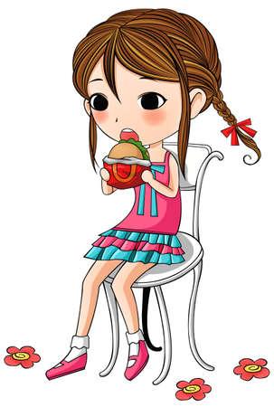 Een leuke modieuze cartoon meisje zit en het hebben van hamburger als haar maaltijd Vector Illustratie