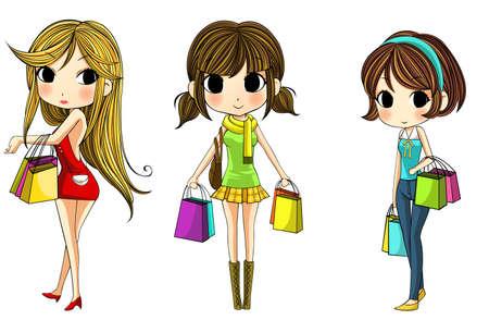 ni�os de compras: Elegantes chicas lindos de la historieta en el conjunto de las compras, crear por el vector