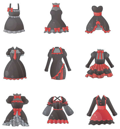 lolita: Sets of Gothic dresses in white background, create by vector