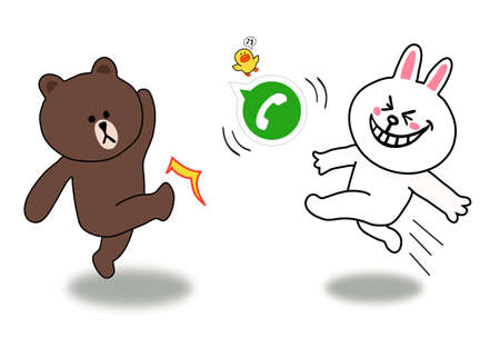 Brown and Cony is kicking a Whatsapp ball in decisive competition Stock Photo - 21038589