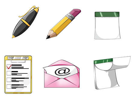 Office icon set 1 with rich detail Vector