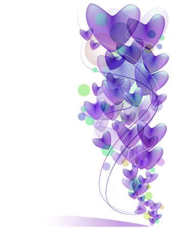 purple swirl: Purple heart pastel balloon background Stock Photo