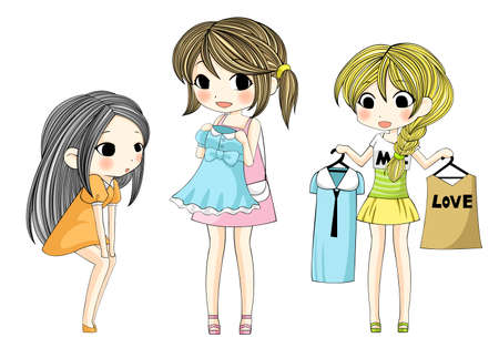 kid shopping: Cute stylish cartoon girls  showing her new dress via shopping set