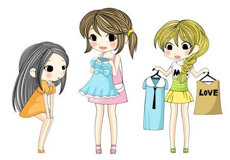 fashion shopping: Elegantes chicas lindos de la historieta que muestra su nuevo vestido a trav�s de compras conjunto