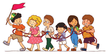 train cartoon: Group of kids is playing rope train