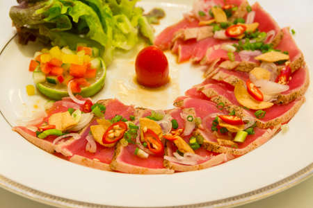italian cusine: Grill Tuna Sashimi made in Italian style cusine  It is a mixer of two cultures
