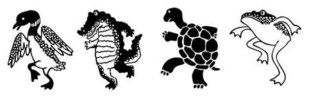 stride: Four silhouette wetland animals stepping in parade with oriental style
