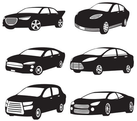Sets of silhouette of my original model cars Vector