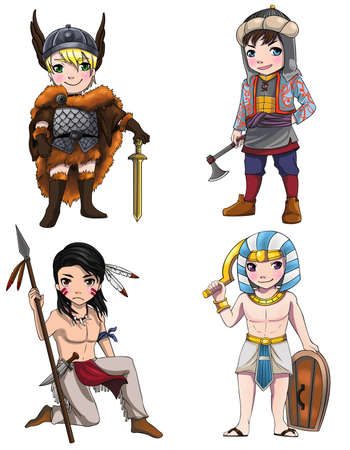 Warriors from various culture set 2 consists of Apache - Vikings - Medjay - Turkish warrior Vector