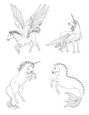 magnific: Fantasy horse collection set in black and white drawing, especially for children or designers to color it themselves