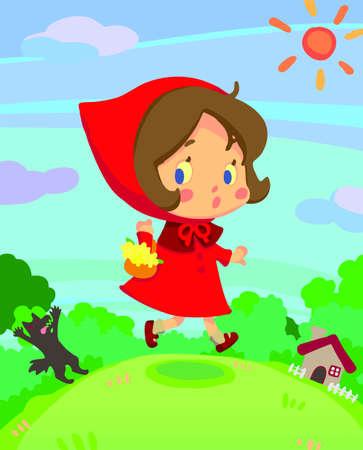 tales: Little red riding hood on run in a little dreamy world Illustration