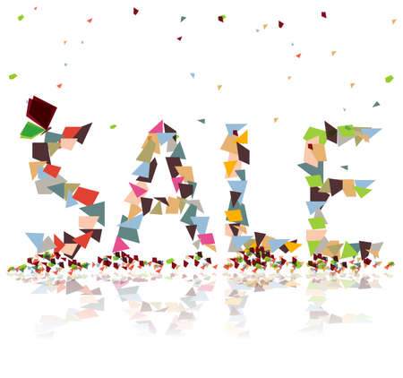 big sale: Colorful paper bits falling and create the word  sale Illustration