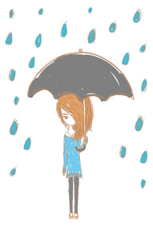 Girl in the rain with stylish design Vector