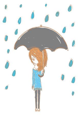 loveless: Girl in the rain with stylish design