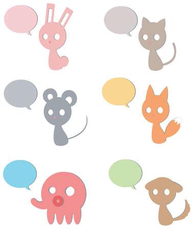 Cardboard Animals icon collection set Vector