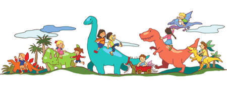 Children play with Dinosaurs in Dinoworld of imagination Vector