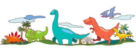 Dinosaur world in children imagination Vector