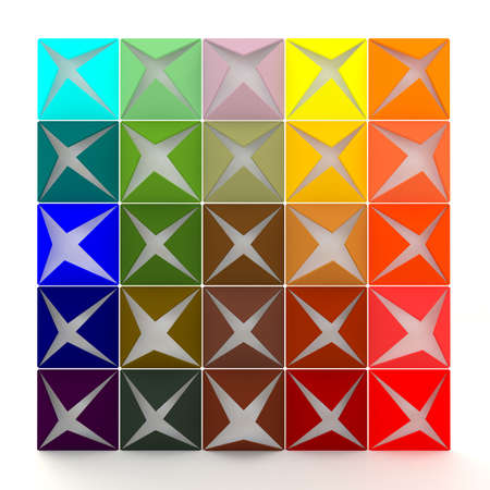 paper folding: Colorful 3D opening paper wallpaper which looks like an open present box Stock Photo