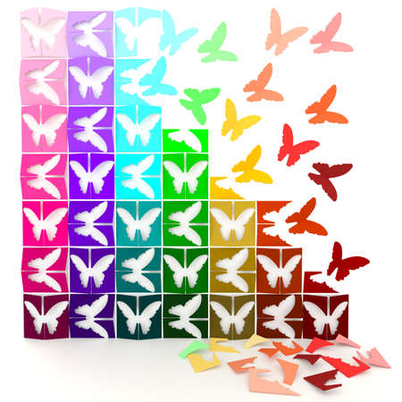 paper folding: 3D colorful paper butterflies turn to life, in jigsaw style