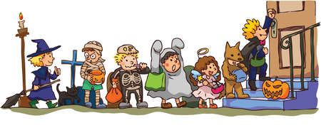 Kids celebrating Halloween Illustration
