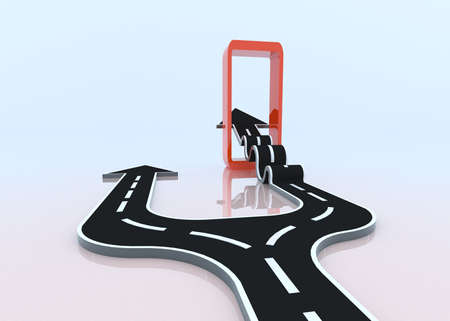 thrusting: Two 3D arrows taking their own path  One is choosing the smooth easy way, another fight through the door of obstacle to gain improvement  the arrow is lifting   Stock Photo