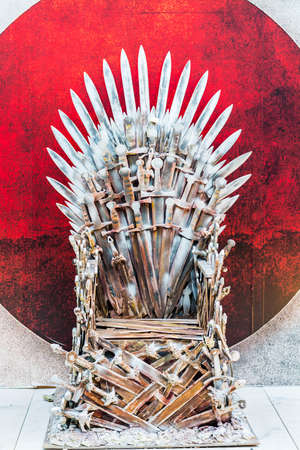 furnish: The throne of a warlord king in fantasy style  in outdoor  Stock Photo