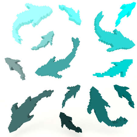 8 Bit pixelated fishes set, create by 3D  photo