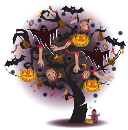 Halloween tree with white ghost Stock Vector - 21492080