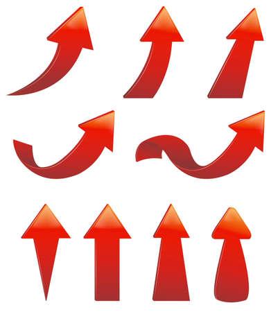 다양한 빨간색 화살표 세트의 종류 일러스트