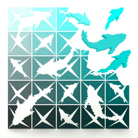 3D marine pixelated fishes turn to life, in jigsaw style  Can be use for decoration photo