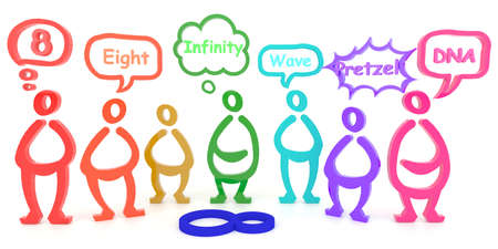 Veel kleurrijke mensen zien een ding in verschillende aspecten, creëren door 3D --- in woorden