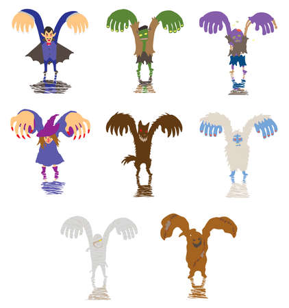 bigfoot: Simple Halloween monster and ghost collection set,  Illustration