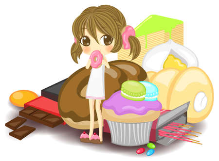 Little nymph on the pile of sweets Vector