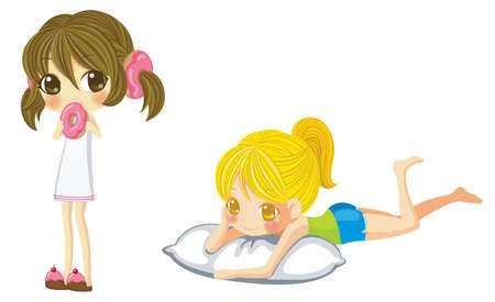 woman lying down: Two sprite girl set  One is eating annd one is lying on a pillow