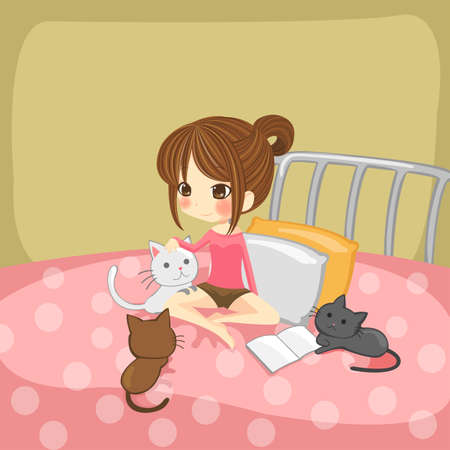 child sitting: Cute little girl playing with little kittens on her bed Illustration