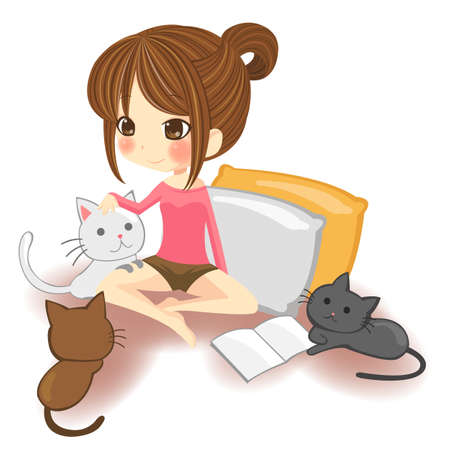 kitten cartoon: Cute little girl playing with little kittens in white background
